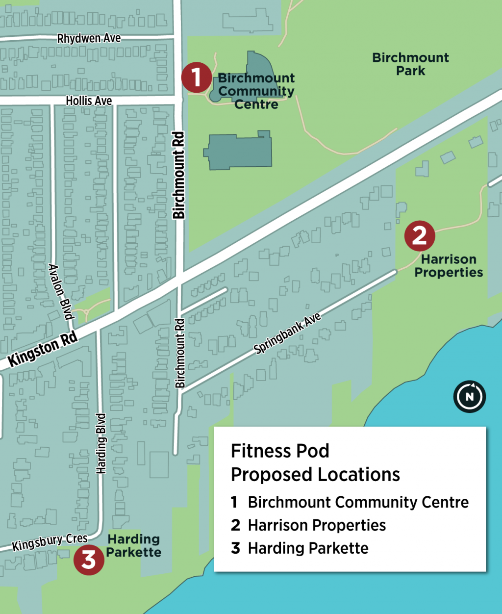 A keymap which provides an overview of the three location options for the outdoor fitness pod. The three location options are Birchmount Community Centre, Harrison Properties and Harding Parkette. One location will be selected based on feedback from the community.