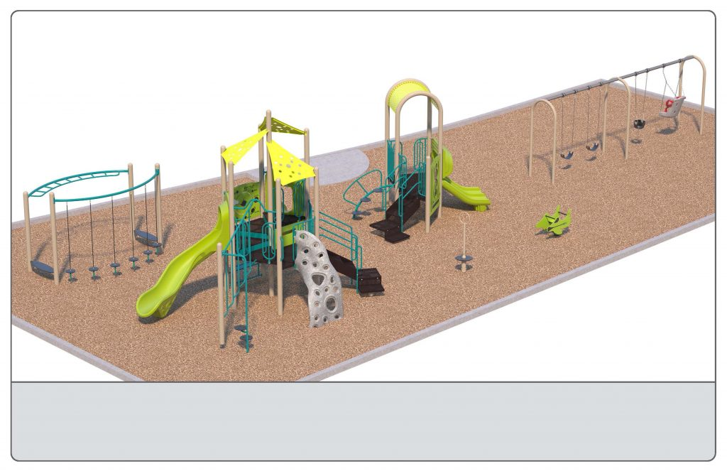 Image shows a rendering of Equipment Design Option #2, which includes two play structures: one for kids from 2-5 years with two small slides and small climbing features, and one for kids from 5 to 12 years old, with one large slide and multiple large climbing features with a rock wall. The option also includes a separate swing structure, including one accessible swing, two swings for children ages 5-12, and one for ages 2-5. Other elements of the playground include a separate climbing structure, a bouncing character (shown as a green plane), and a small character spinning seat or standing platform (shown as a grey seat with a tall handle)