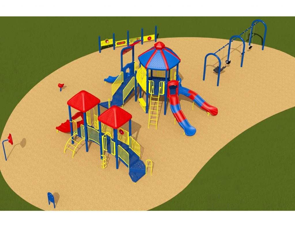 Image shows a rendering of Equipment Design Option #1, which includes two play structures: one for kids from 2-5 years with two small slides and small climbing feature, and one for kids from 5 to 12 years old, with three large slide and multiple large climbing features. The option also includes a separate swing structure, including one accessible swing. Other elements of the playground include a spinning seat, a tall character spinning wheel (shown as a red wheel on a blue pole), and accessible play walls (shown as blue poles with yellow panels).