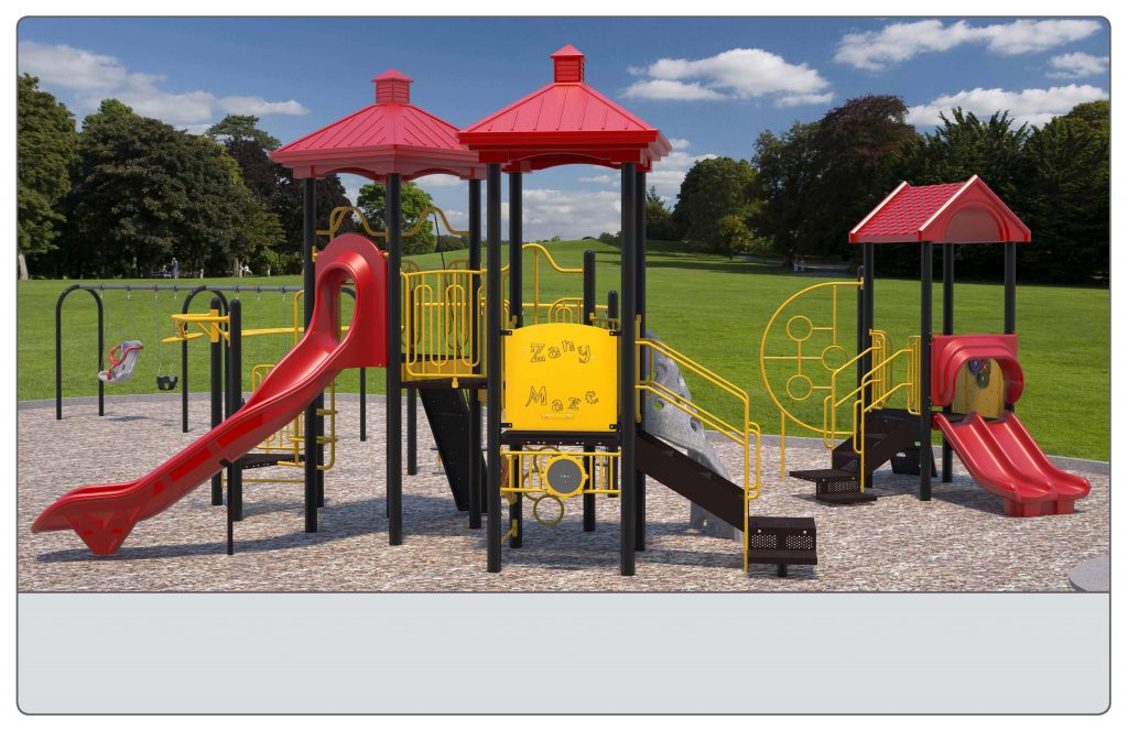 Image shows an alternate rendering of Equipment Design Option #2, which includes two play structures: one for kids from 2-5 years with two small slides and small climbing features, and one for kids from 5 to 12 years old, with one large slide and multiple large climbing features with a rock wall. The option also includes a separate swing structure, including one accessible swing, two swings for children ages 5-12, and one for ages 2-5. Other elements of the playground include a bouncing/spring character (shown as a yellow motorcycle), a small character spinning seat (shown in black with a handle) and accessible play walls (shown as black poles with yellow panels).