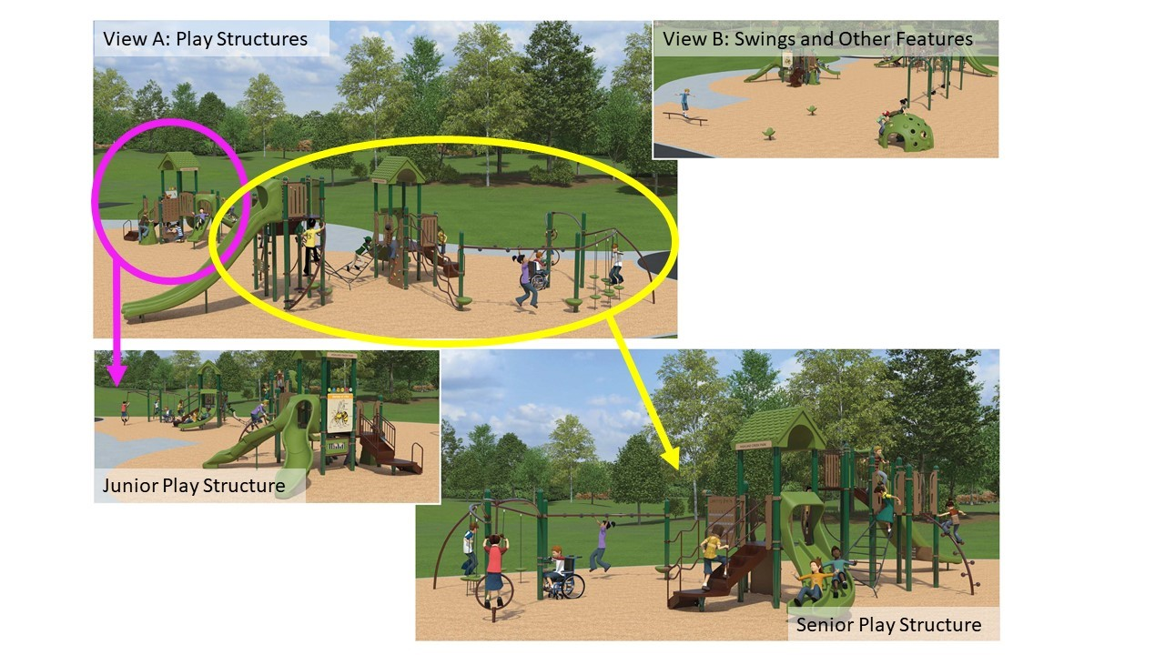 Highland Creek Park Playground Redesign Option 1, as described in the text that follows.