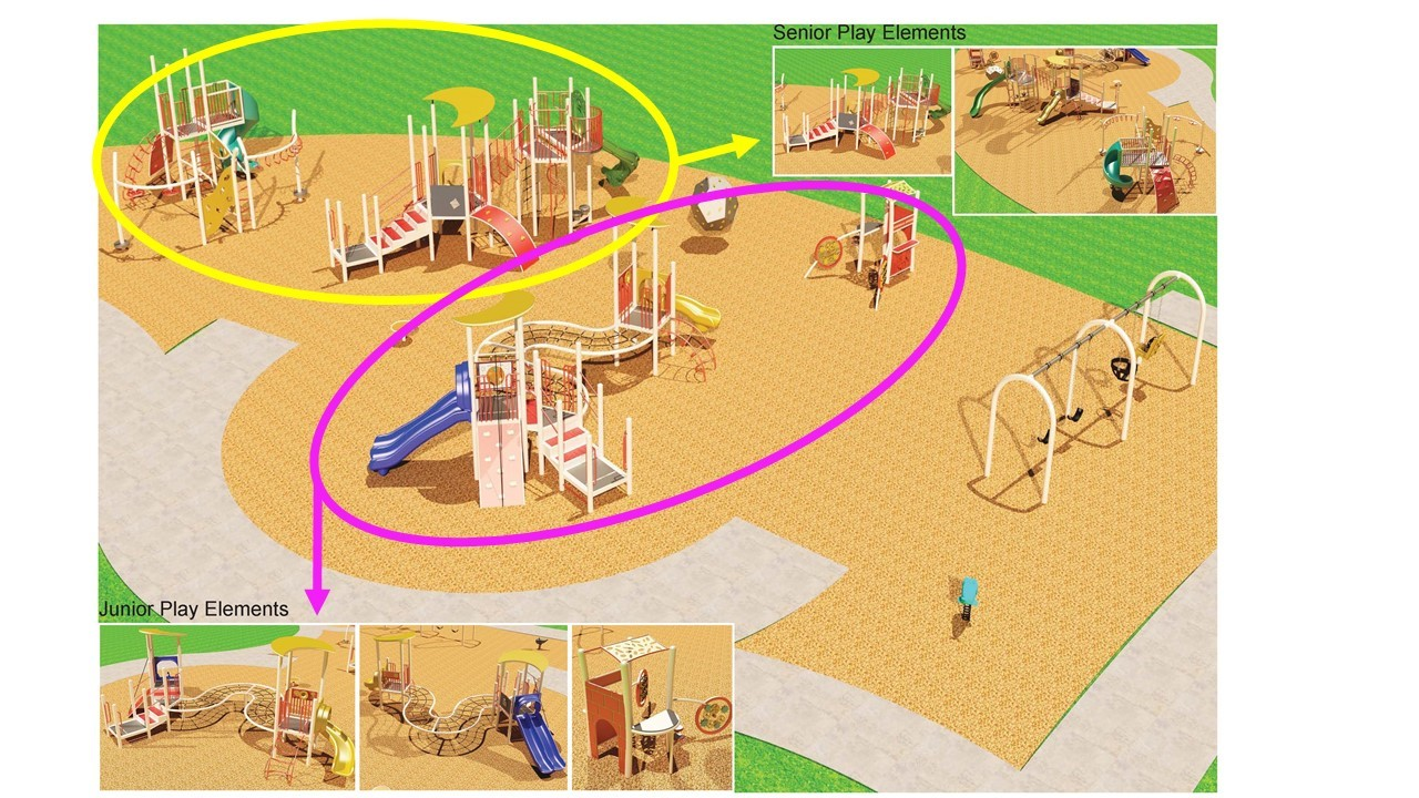 Highland Creek Park Playground Redesign Option 2, as described in the text that follows.