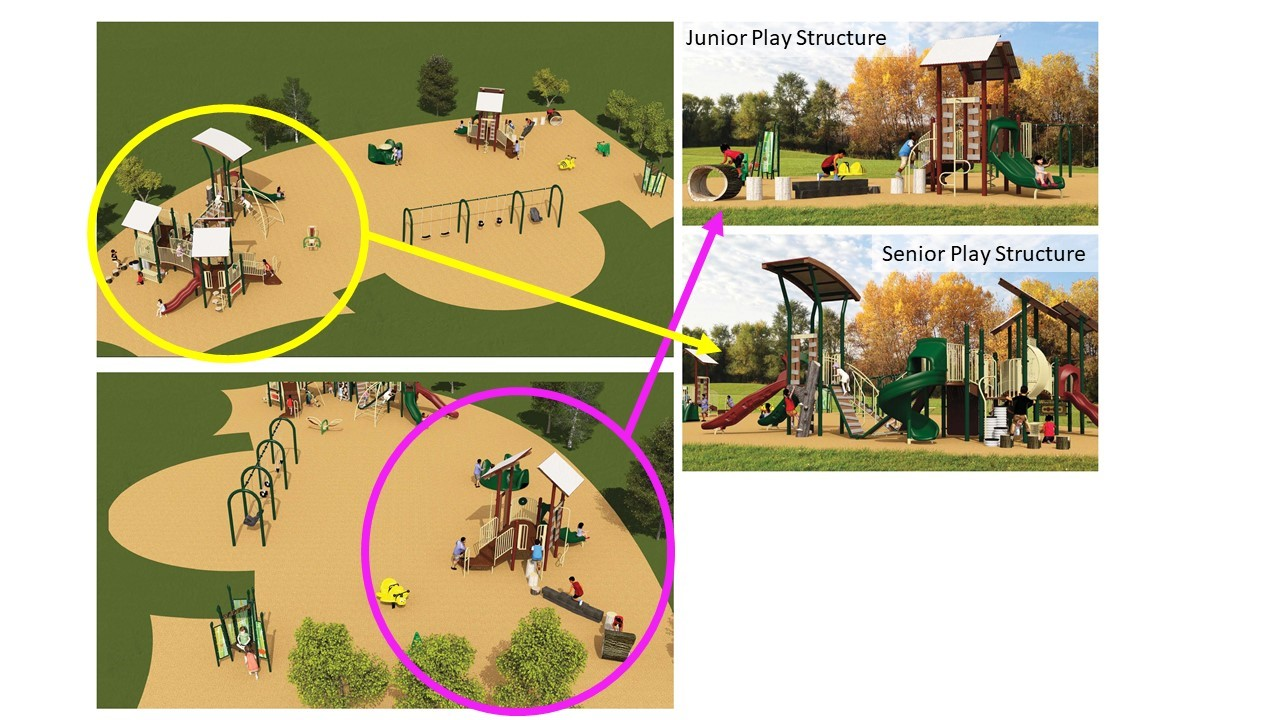 Highland Creek Park Playground Redesign Option 3, as described in the text that follows.