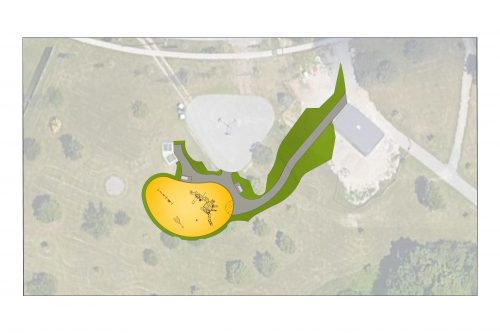 : An aerial overview of Humberline Park. The proposed improvements include a new accessible asphalt walkway connecting the washroom building to the playground, indicated in grey.