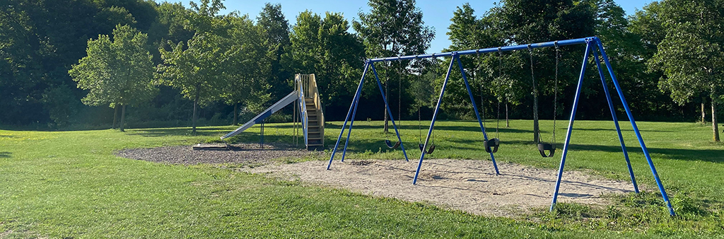 A photo of the current and old playground at Humberline Park, with slide and swings.