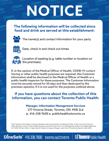 screenshot of collection of information notice