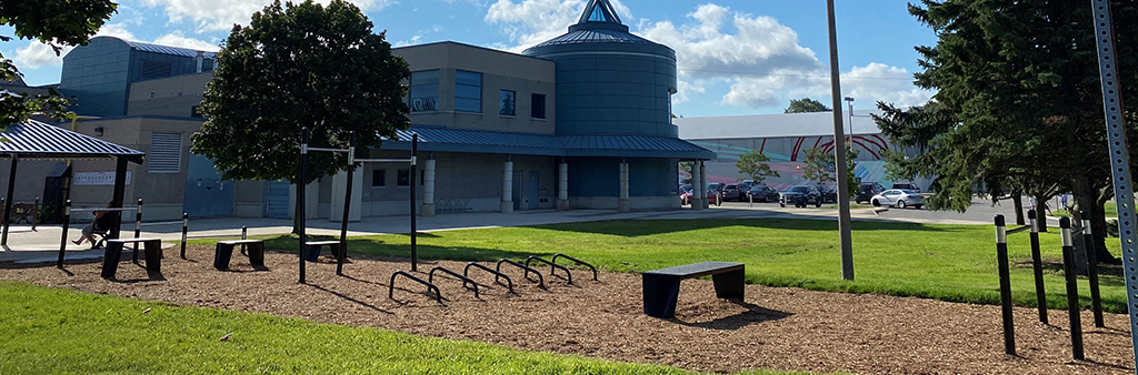 Rendering of the fitness equipment elements for the outdoor fitness pod.