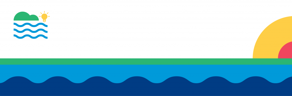 A colourful graphic representing the water and island at Toronto Island Park.
