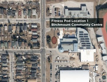 Birchmount Community Centre is located at 93 Birchmount Road, near Birchmount Road and Danforth Avenue. The fitness pod would be located near the front entrance of the community centre and in close proximity to the Birchmount Track.