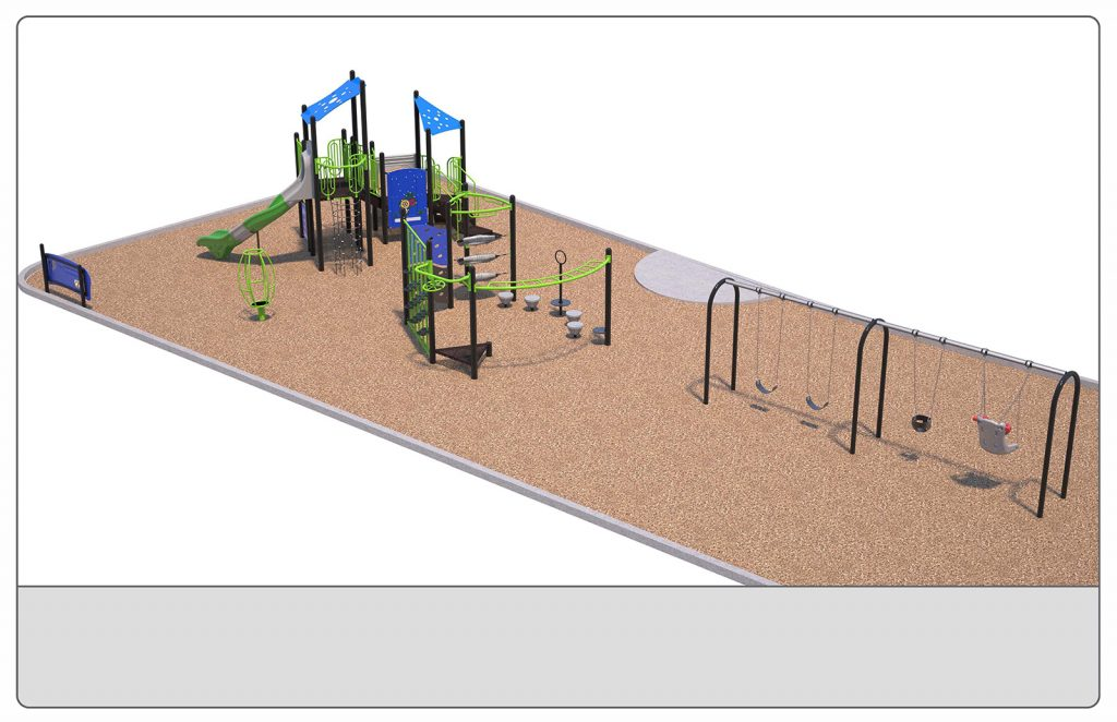 Image shows a rendering of Equipment Design Option #3, which includes two play structures: one for kids from 2-5 years with two small slides and small climbing features, and one for kids from 5 to 12 years old, with one large slide and multiple large climbing features. The option also includes a separate swing structure, including one accessible swing, two swings for children ages 5-12, and one for ages 2-5. Other elements of the playground include a separate climbing structure, a small spinning structure (shown in green), and accessible play walls (shown as black poles with a blue panel)