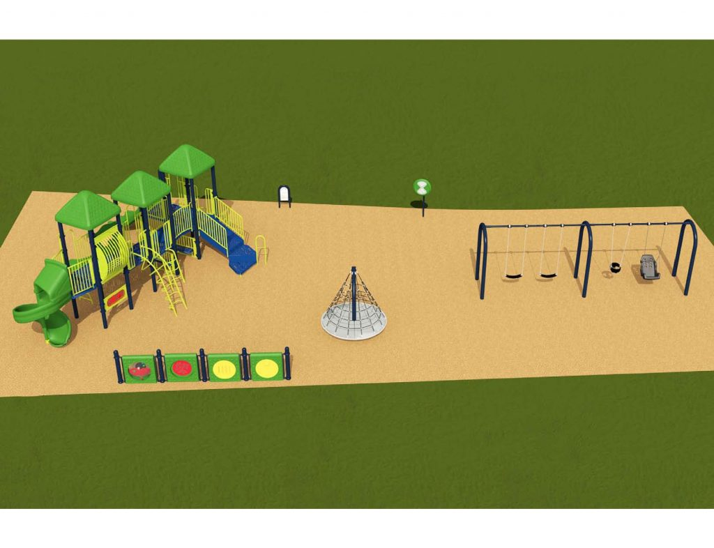 Image shows an alternate rendering of Equipment Design Option #1, which includes large play structure with four slides and equipment for kids from 2 to 12 years old. The option also a separate pyramidal climbing structure, and a separate swing structure with one swing for ages 2 to 5, two swings for ages 5 to 12, and one accessible swing. Other playground elements include a tall character spinning wheel (shown as a green wheel on a blue pole), and accessible play walls (shown as blue poles with a green panel).
