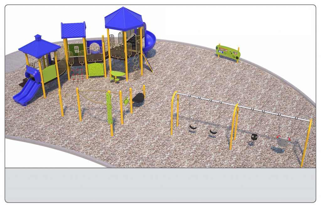 Image shows a rendering of Equipment Design Option #3, which includes one large play structure with 4 slides and equipment for kids from 2 to 12 years old. The option also includes a separate climbing structure, and a separate swing structure with: one swing for ages 2 to 5, two swings for ages 5 to 12, and one accessible swing. The option also includes accessible play walls (shown as yellow poles with a green panel).