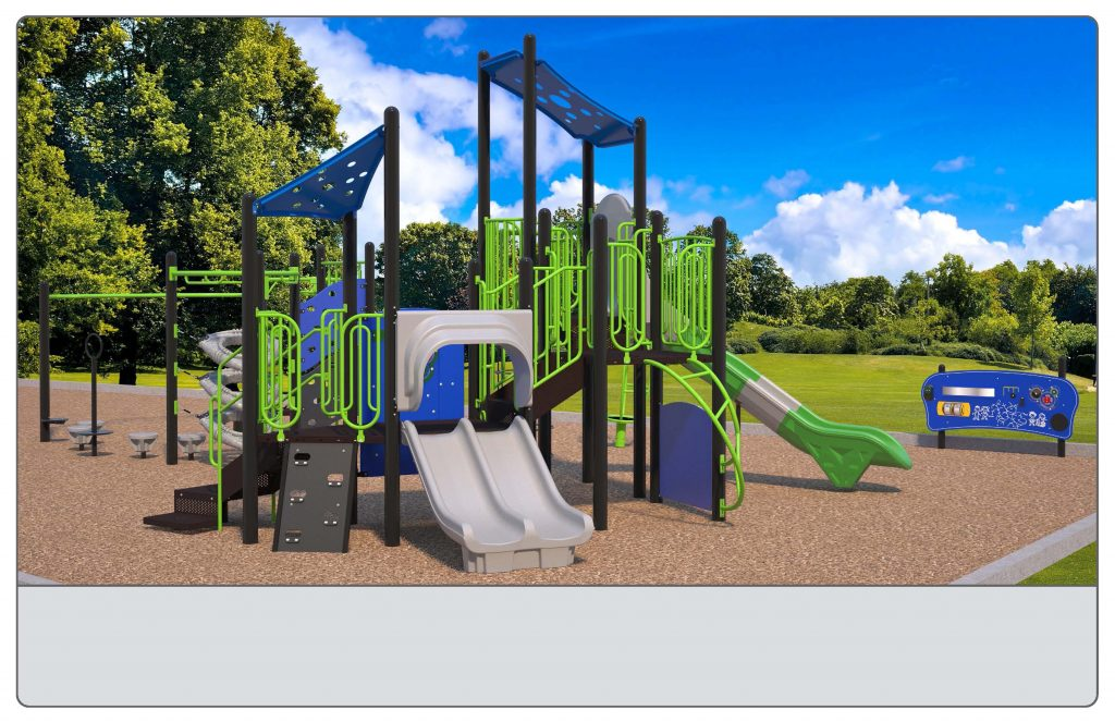 Image shows an alternate rendering of Equipment Design Option #3, which includes two play structures: one for kids from 2-5 years with two small slides and small climbing features, and one for kids from 5 to 12 years old, with one large slide and multiple large climbing features. The option also includes a separate swing structure, including one accessible swing, two swings for children ages 5-12, and one for ages 2-5. Other elements of the playground include a separate climbing structure, a small spinning structure (shown in green), and accessible play walls (shown as black poles with a blue panel)