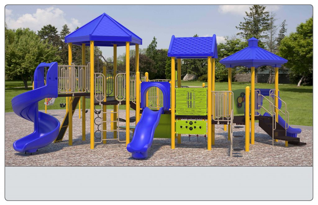 Image shows an alternate rendering of Equipment Design Option #3, which includes one large play structure with 4 slides and equipment for kids from 2 to 12 years old. The option also includes a separate climbing structure, and a separate swing structure with: one swing for ages 2 to 5, two swings for ages 5 to 12, and one accessible swing. The option also includes accessible play walls (shown as yellow poles with a green panel).