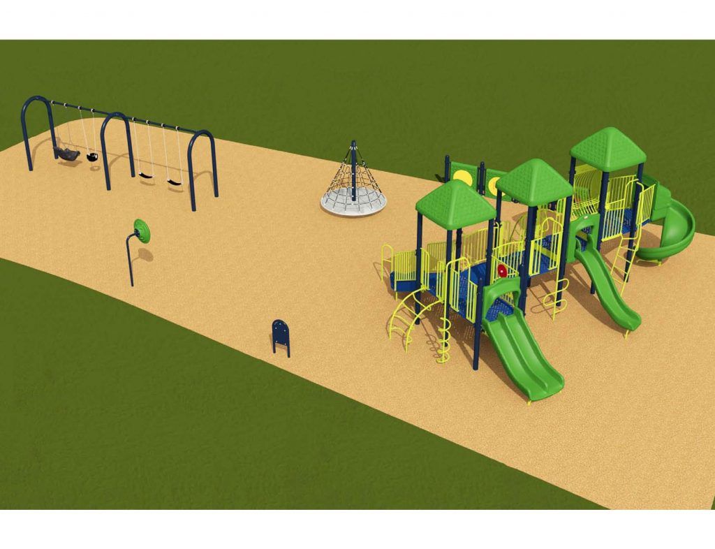 Image shows a rendering of Equipment Design Option #1, which includes large play structure with four slides and equipment for kids from 2 to 12 years old. The option also a separate pyramidal climbing structure, and a separate swing structure with one swing for ages 2 to 5, two swings for ages 5 to 12, and one accessible swing. Other playground elements include a tall character spinning wheel (shown as a green wheel on a blue pole), and accessible play walls (shown as blue poles with a green panel).