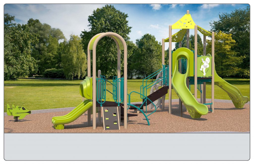 Image shows an alternate rendering of Equipment Design Option #2, which includes two play structures: one for kids from 2-5 years with two small slides and small climbing features, and one for kids from 5 to 12 years old, with one large slide and multiple large climbing features with a rock wall. The option also includes a separate swing structure, including one accessible swing, two swings for children ages 5-12, and one for ages 2-5. Other elements of the playground include a separate climbing structure, a bouncing character (shown as a green plane), and a small character spinning seat or standing platform (shown as a grey seat with a tall handle)
