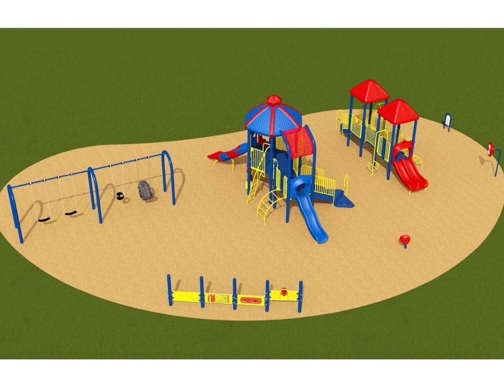 Image shows an alternate rendering of Equipment Design Option #1, which includes two play structures: one for kids from 2-5 years with two small slides and small climbing feature, and one for kids from 5 to 12 years old, with three large slide and multiple large climbing features. The option also includes a separate swing structure, including one accessible swing. Other elements of the playground include a spinning seat, a tall character spinning wheel (shown as a red wheel on a blue pole), and accessible play walls (shown as blue poles with yellow panels).