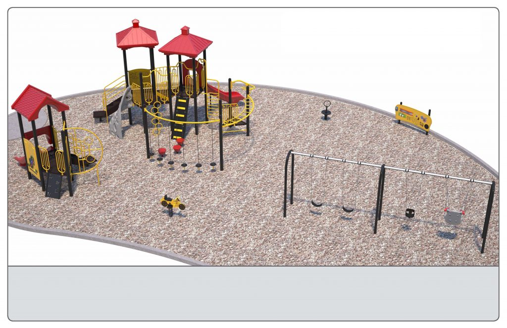 Image shows a rendering of Equipment Design Option #2, which includes two play structures: one for kids from 2-5 years with two small slides and small climbing features, and one for kids from 5 to 12 years old, with one large slide and multiple large climbing features with a rock wall. The option also includes a separate swing structure, including one accessible swing, two swings for children ages 5-12, and one for ages 2-5. Other elements of the playground include a bouncing/spring character (shown as a yellow motorcycle), a small character spinning seat (shown in black with a handle) and accessible play walls (shown as black poles with yellow panels).