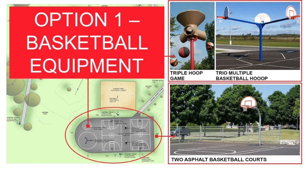Shows basketball area option 1 which includes Two new asphalt basketball courts, a Triple Hoop Game, and a Trio Multiple Basketball Hoop