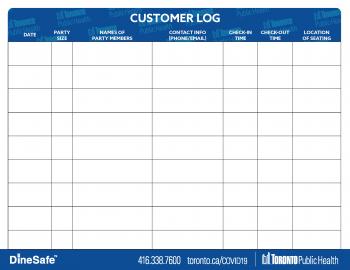 screenshot of restaurant customer log