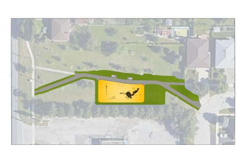 An aerial overview of Frost Park. The proposed improvements include a new asphalt walkway that connects to the playground, indicated in grey.