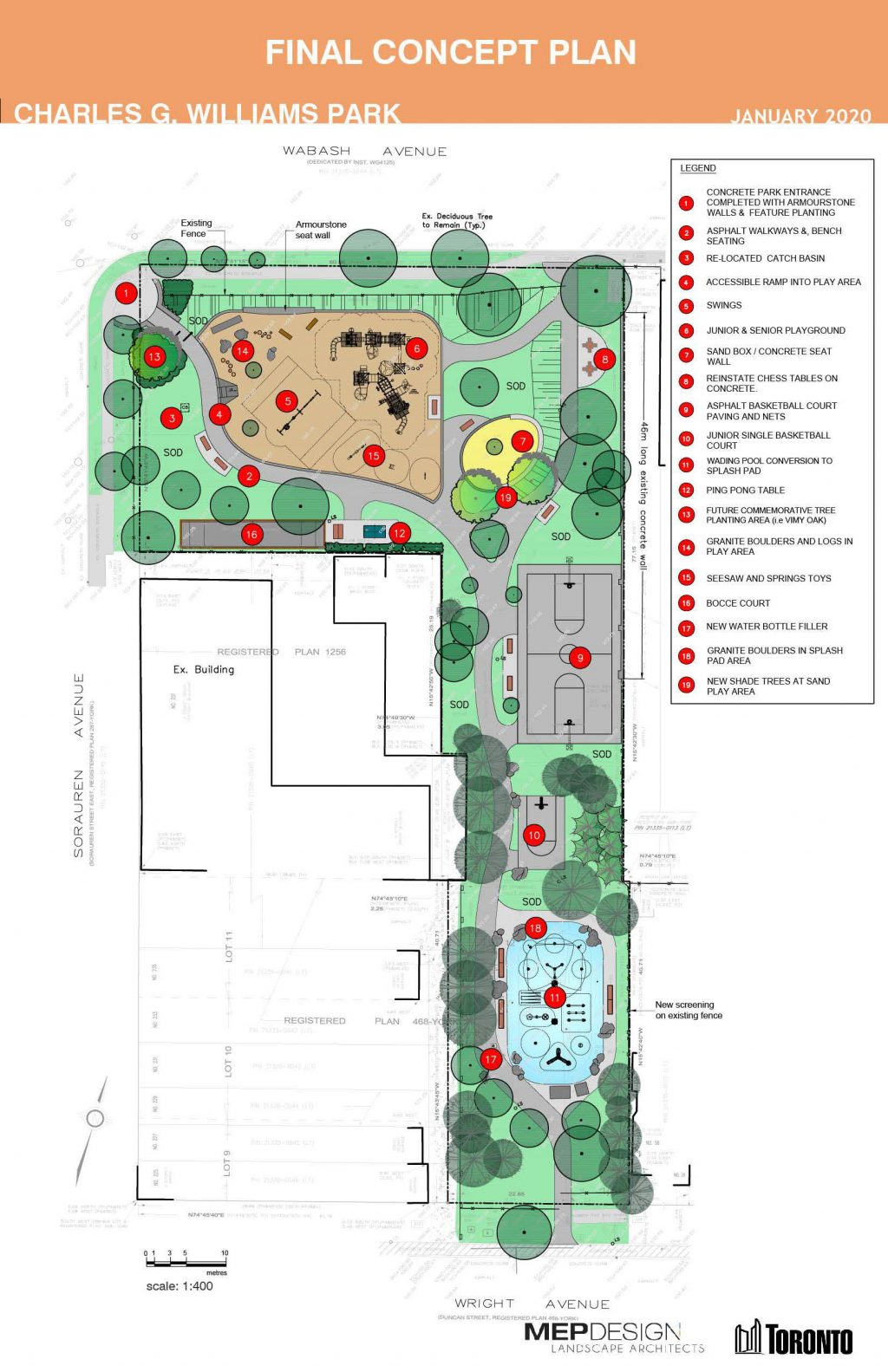 The plan includes upgrades to the existing playground, the conversion of the existing wading pool to a new splash pad, a new junior basketball court, upgrades to the existing basketball court and a new bocce court. New accessible pathways, bench seating and new tree plantings are also included.
