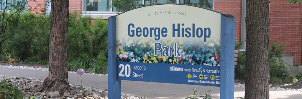 The sign for George Hislop Park.