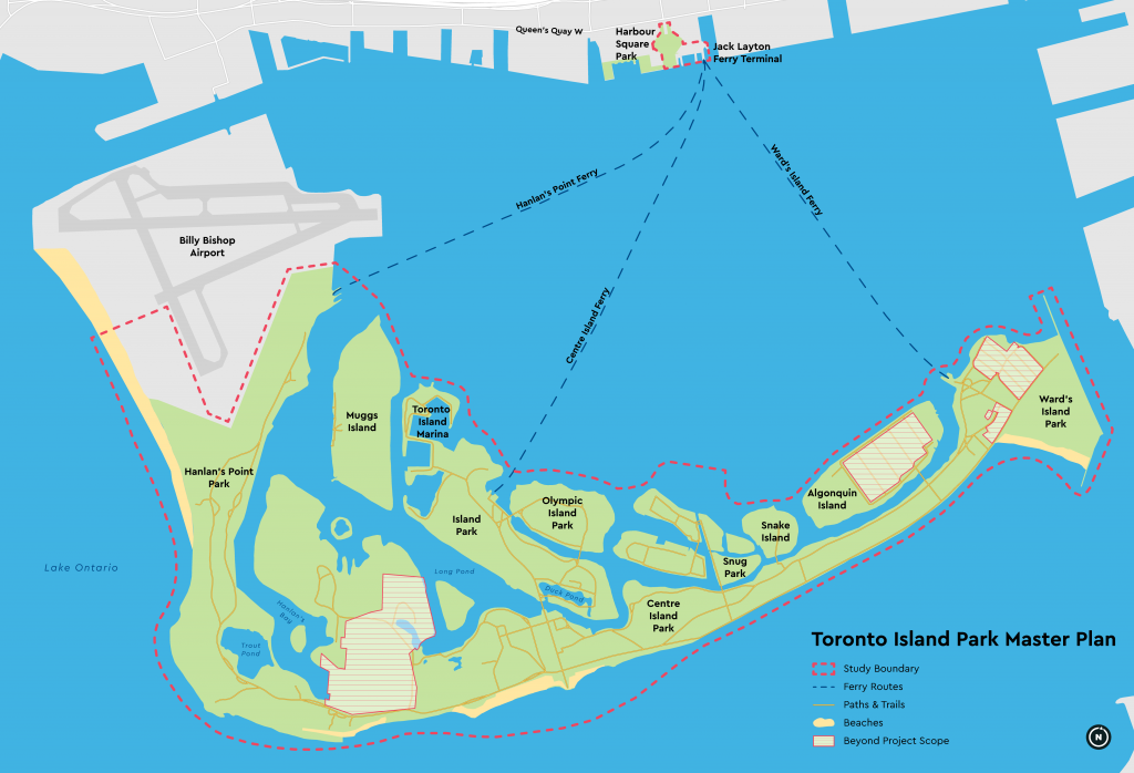 A map showing the boundaries of the study area, ferry routes, pathways, trails, beaches and out of scope areas. The study area includes all of Toronto Island Park in addition to the area around the Jack Layton Ferry Terminal. It excludes all areas on the island where there is housing, the service area around the water treatment plant, and the Island Airport.