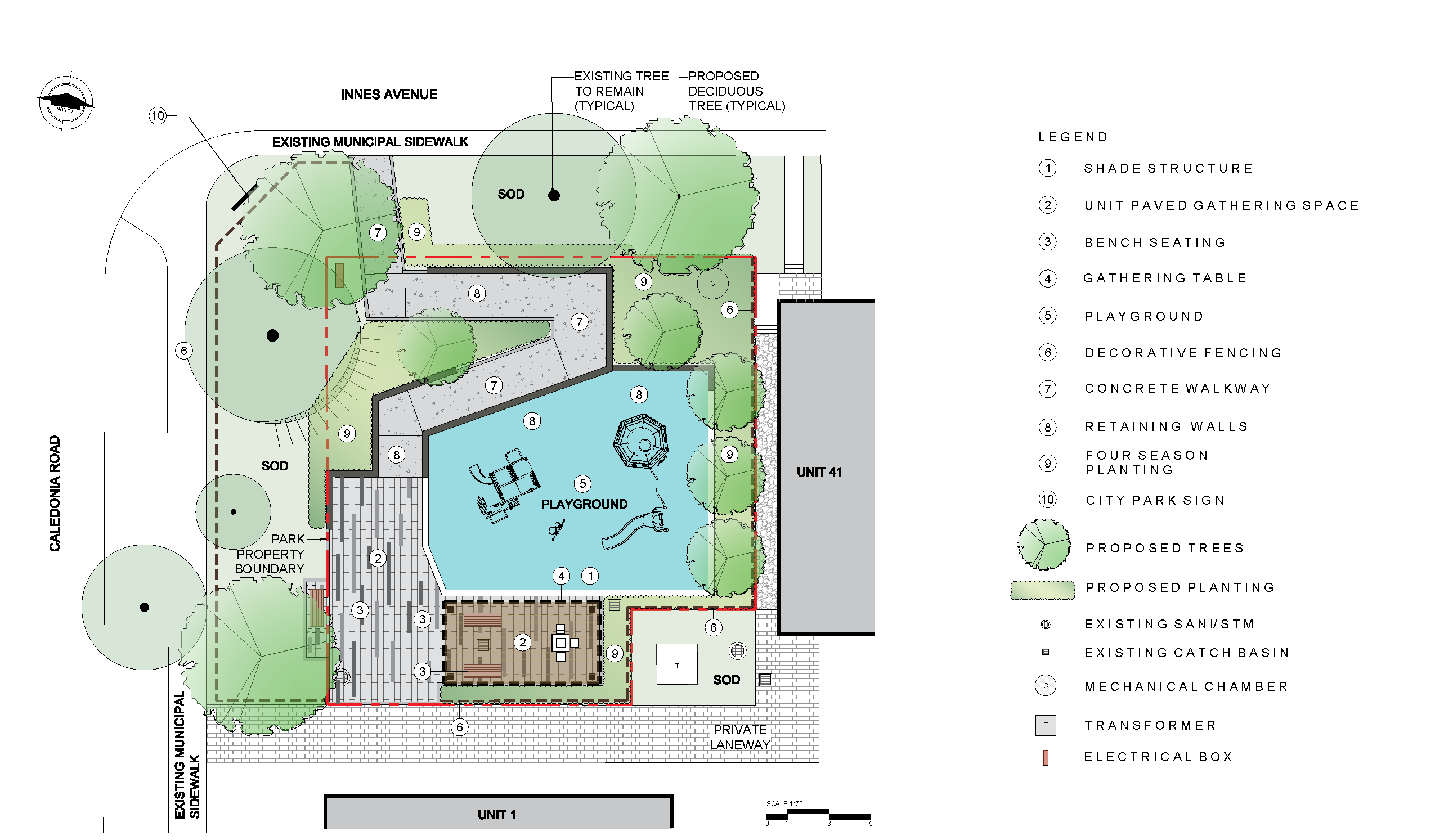 The concept plan for the new park at 177 Caledonia Road includes accessible pathway connections, games tables, a small playground and new planting and landscaping, including trees, various horticulture features and sod.