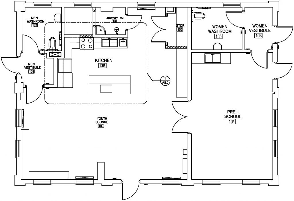 Floor plan of the Dentonia Park Clubhouse with the kitchen located along the interior north wall. This location maximizes the existing plumbing and walls inside the building while maintaining an open floor plan and preserving interior views of the park.