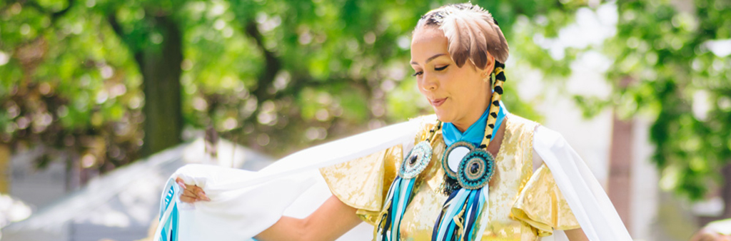 Indigenous artist performing at Indigenous Arts Festival at Fort York