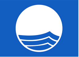 Blue Flag program logo: a blue background with a white circle featuring blue waves.