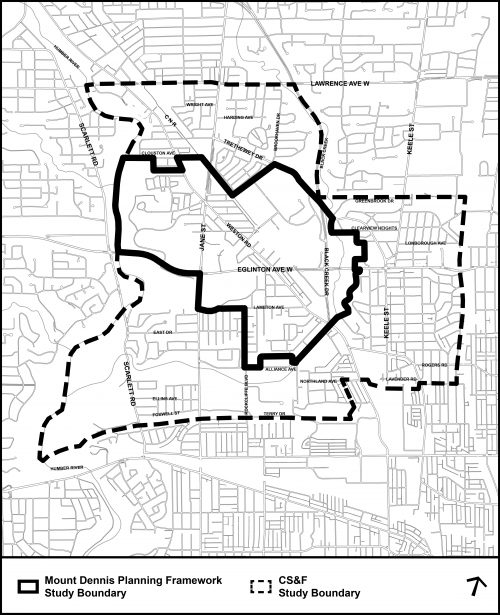 Mount Dennis planning framework study boundary map