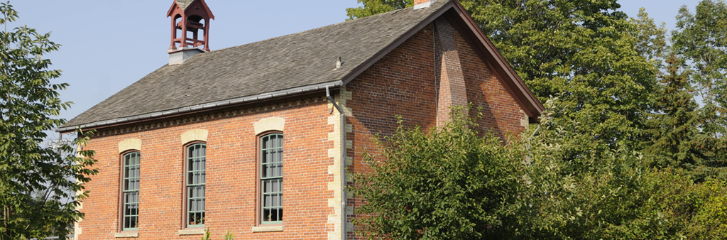 A view of Zion Schoolhouse from the exterior.