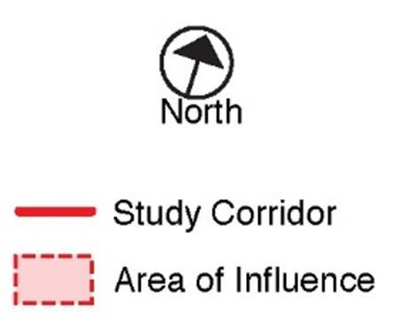 Legend of map, red line is the study corridor, red box is the area of influence