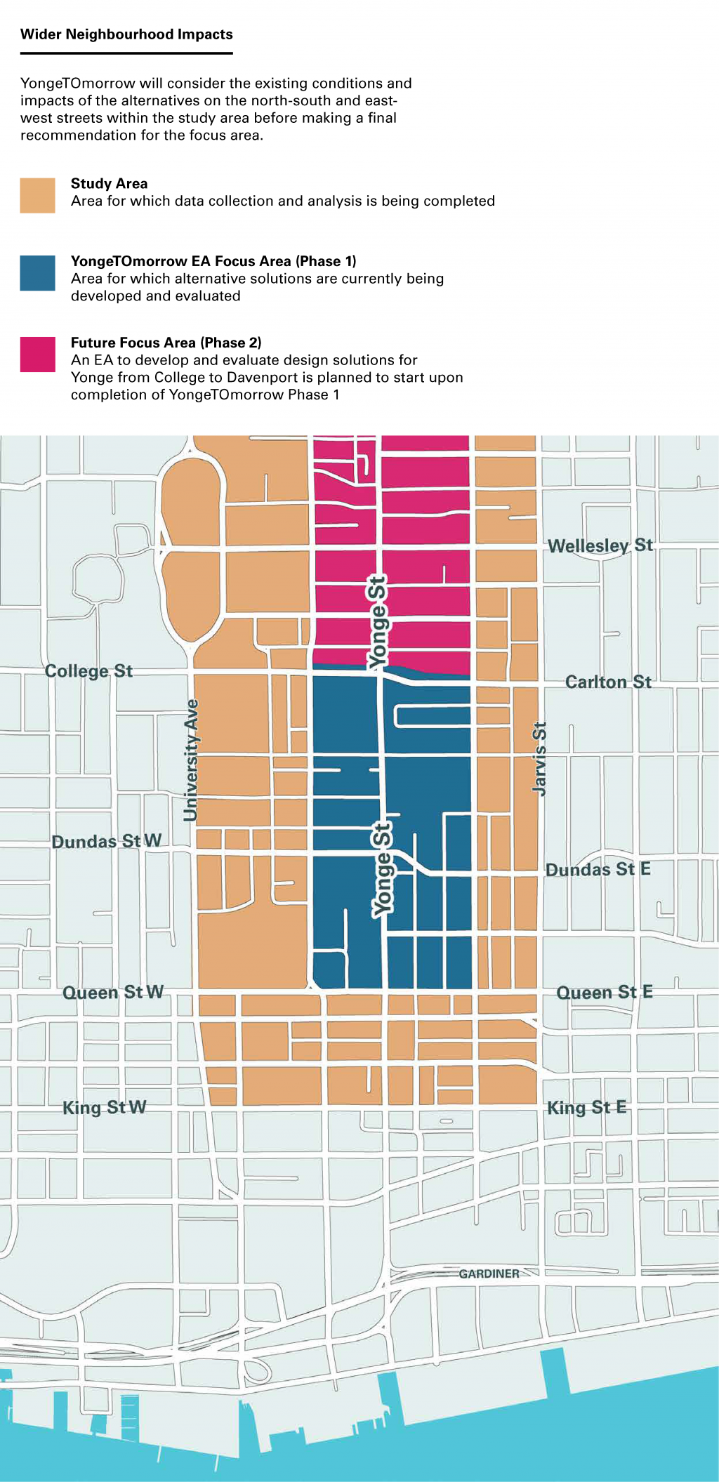 Study area boundaries are Roxborough Street West, Mount Pleasant Road/Jarvis Street, King Street and University Avenue. Phase 1 boundaries are College/Carlton Street, Church Street, Queen Street and Bay Street. Phase 2 boundaries are Davenport Avenue, College Street, Church Street and Bay Street.