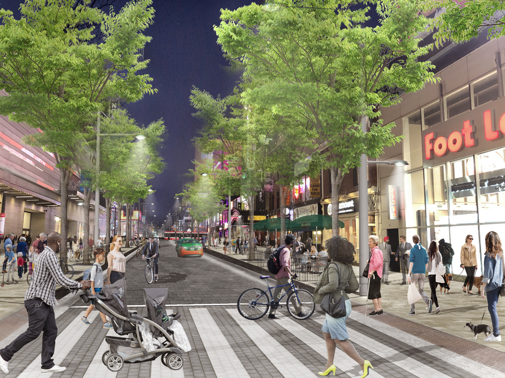 Artist rendering of Yonge Street between Dundas Square and Shuter Street looking north.