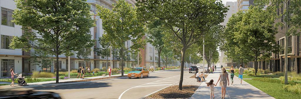 Rendering of Midtown street with tree lined sidewalks, buildings, and pedestrians walking