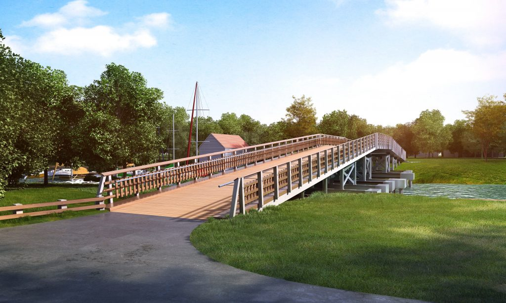 Shows a wide wooden bridge going to the island with wooden and metal railings