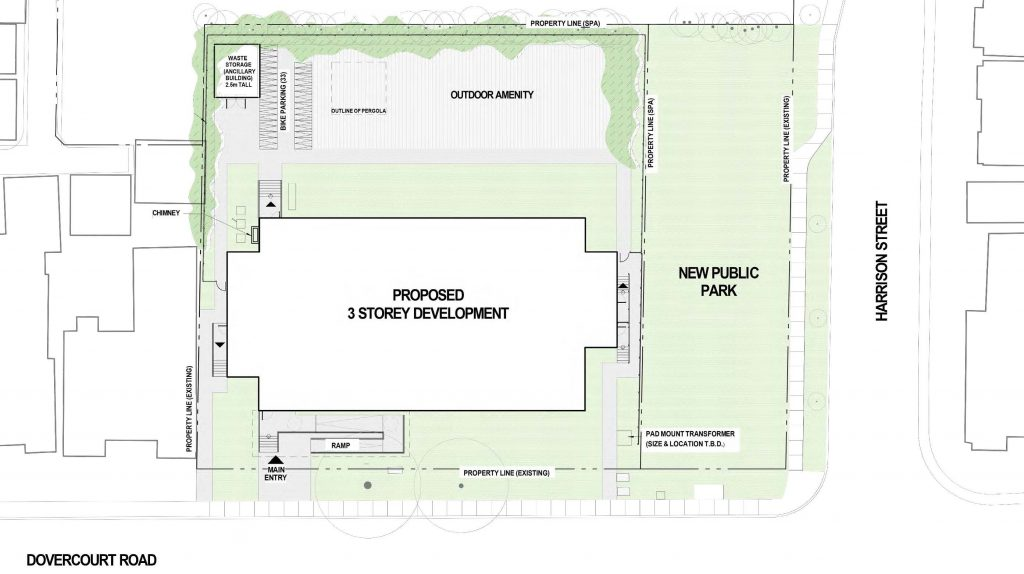 The site plan for the new park at 150 Harrison, located on the south east corner of Dovercourt Road and Harrison Street.