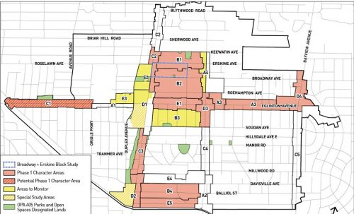 A map of the Study Area, showing that 12, and potentially 13, character areas will be included in Phase 1. These character areas are mostly located north and east of the Yonge-Eglinton intersection, and around the Yonge-Davisville intersection.