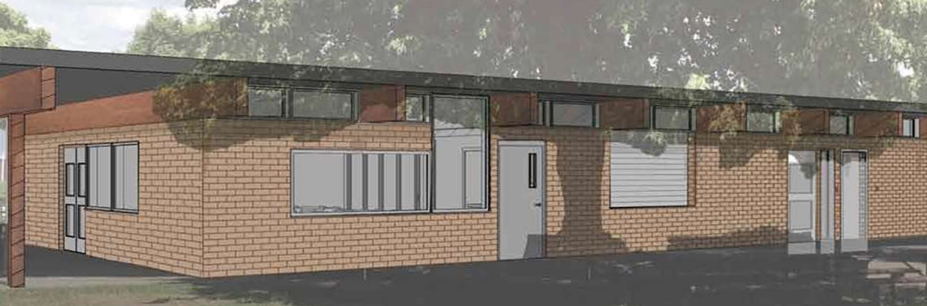 A rendering of a proposed building for Topham Park.
