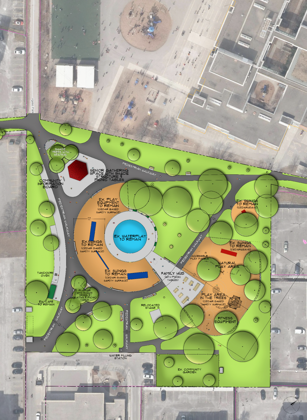 The final design for the R.V Burgess Park and Playground improvements includes new amenities such as accessible benches and picnic tables, upgrades to the drainage and sub-drainage system, concrete seat walls at the splash pad and play areas, outdoor fitness equipment elements and a shade shelter with a community information board. The existing pathway system will be upgraded to align with major north-south and east-west travel routes.