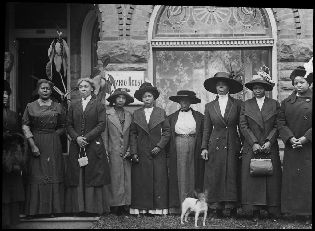 Photograph of women outside of building