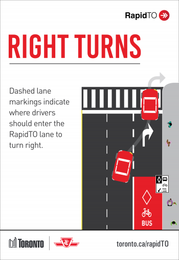Dashed lane markings indicate where drivers should enter the RapidTO lane to turn right.
