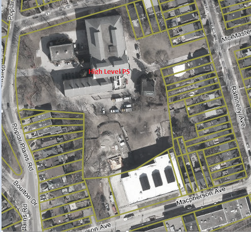 High Level Pumping Station Standby Power, contact mae.lee@toronto.ca for assistance reading this map