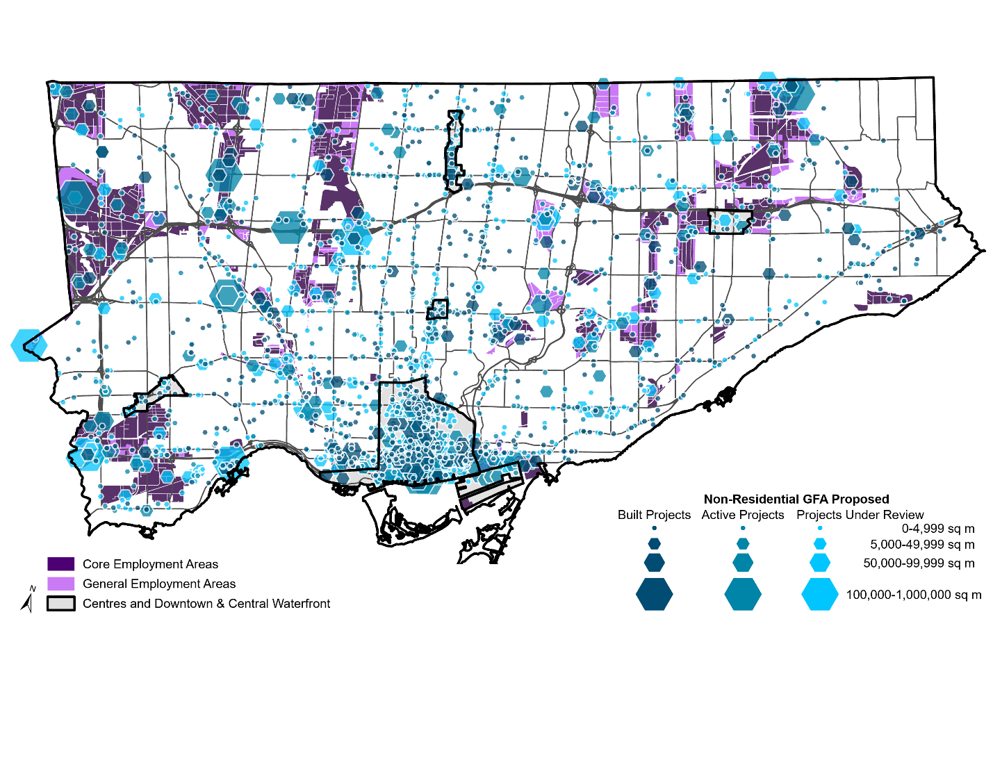 This map shows non-residential projects as graduated hexagons with their size based on the amount of non-residential gross floor area they propose. For more information, contact Ram Naguleswaran at 416-338-5569 or ram.naguleswaran@toronto.ca
