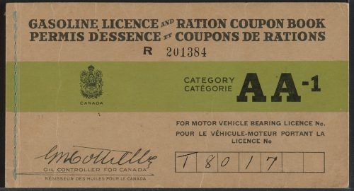 Wartime gasoline licence and ration book