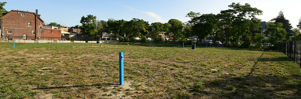 Existing site for the park and housing development at 150 Harrison Street.