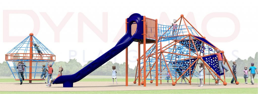 A computer rendering of the climbing structure with a bridge, a slide and a multi-level spinner.